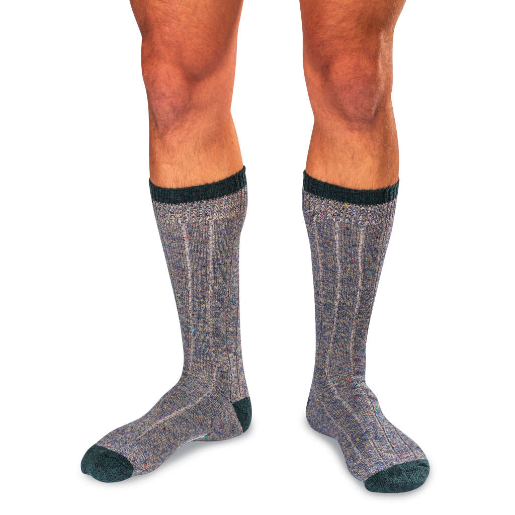 Man Wearing Khaki Twist Merino Wool Blend Donegal Socks