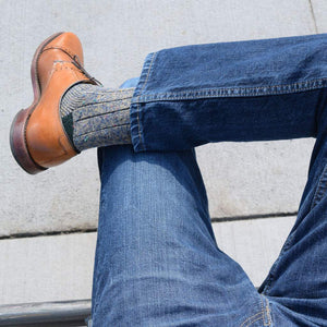 Casual Donegal Wool Socks with Denim