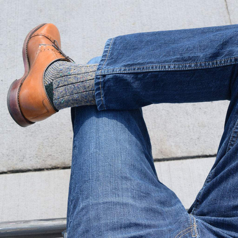 Man Wearing Navy and Khaki Donegal Wool Socks with Denim and Walnut Brown Dress Shoes
