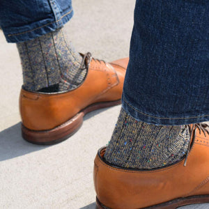 Khaki and Navy Donegal Socks with Denim and Tan Oxfords