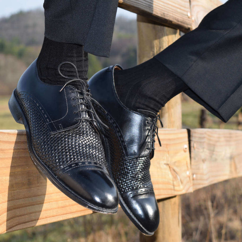 Black Mercerized Cotton Dress Socks with Black Dress Pants and Black Dress Shoes