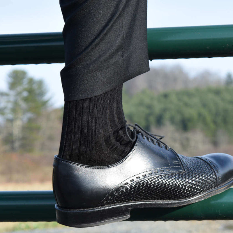 Man Wearing Black Dress Pants with Black Mercerized Cotton Dress Socks