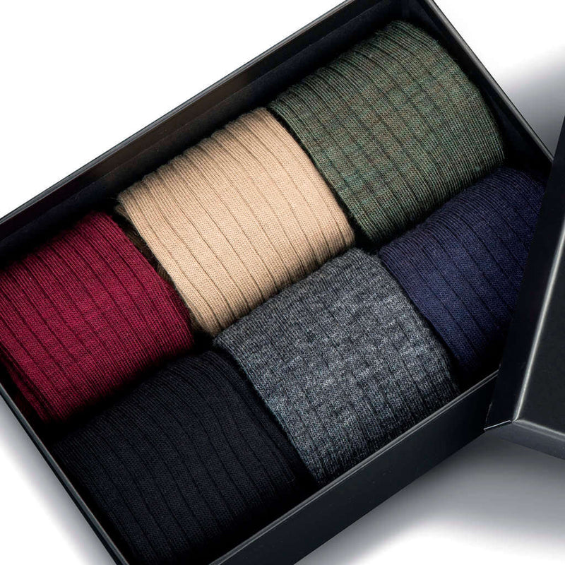 Six Pairs of Merino Wool Over the Calf Dress Socks in a Sleek Gift Box