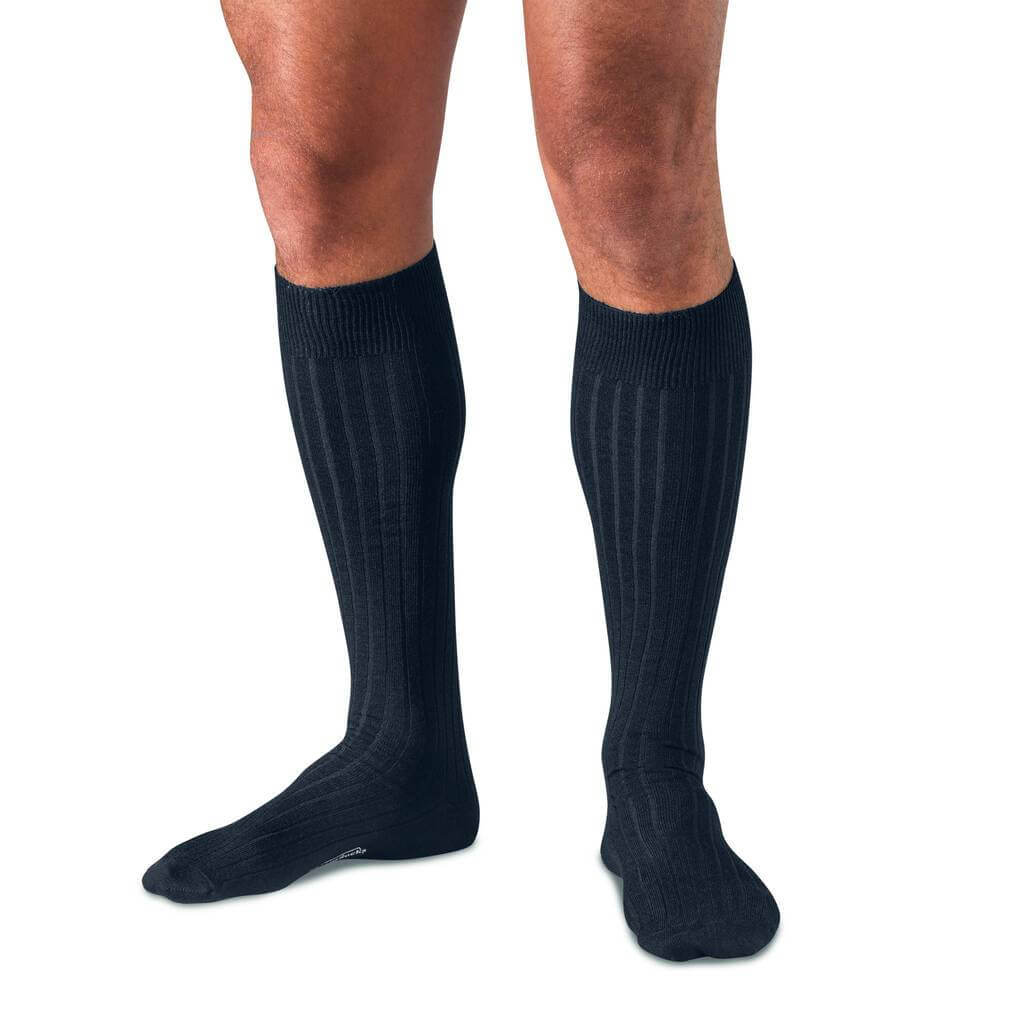 Man Wearing Midnight Navy Merino Wool Over the Calf Dress Socks