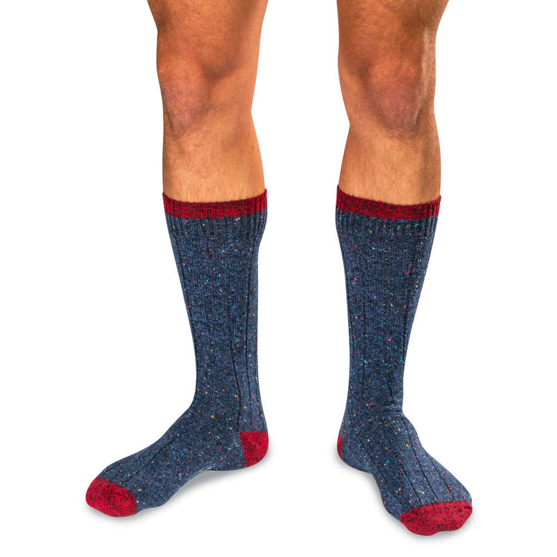 Man Wearing Navy Blue Donegal Wool Socks