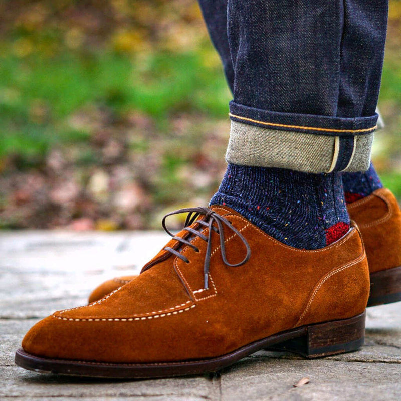 Man Wearing Jeans with Navy Donegal Wool Socks and Light Brown Suede Dress Shoes