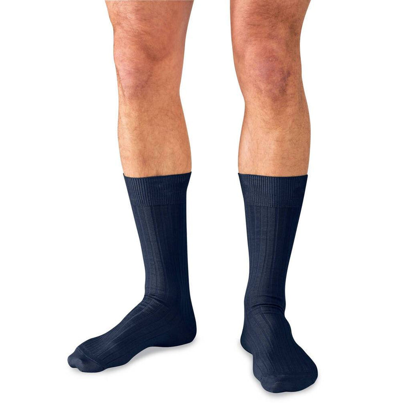 Model Wearing Mid-Calf Length Navy Blue Cotton Dress Socks