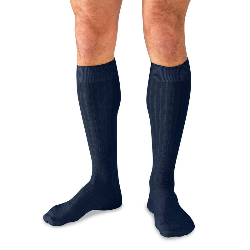 Man Wearing Navy Blue Over the Calf Dress Socks