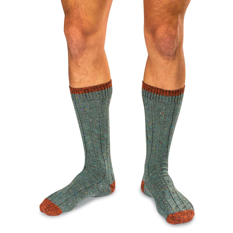 Model Wearing Olive Green Donegal Tweed Wool Blend Socks