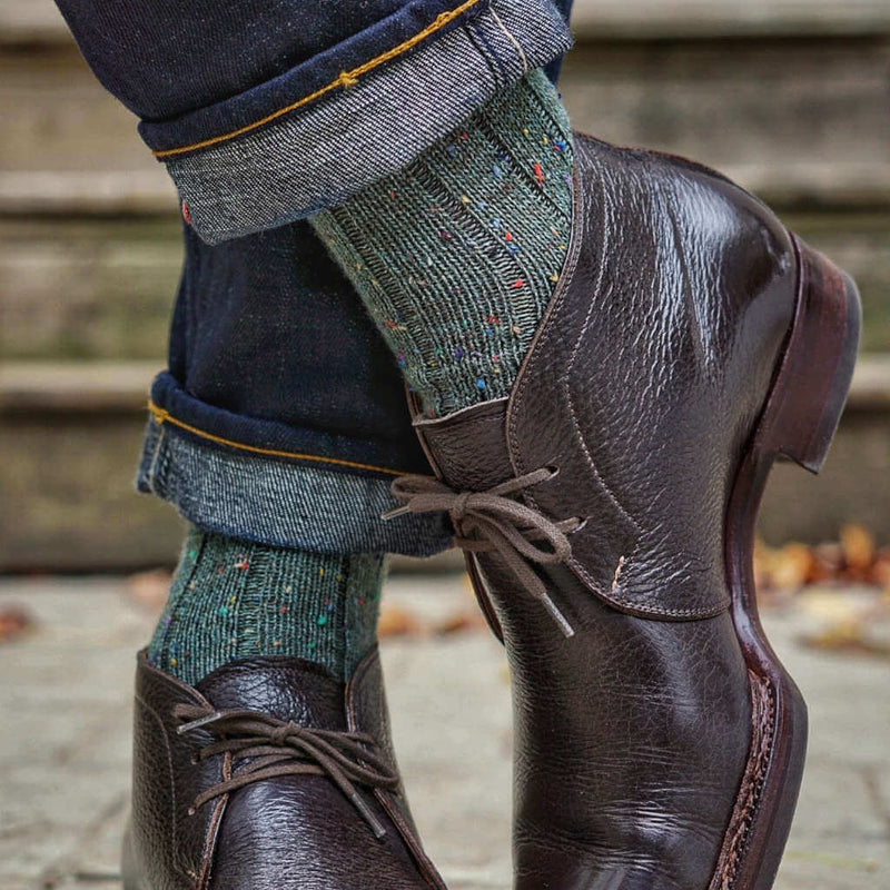 Olive Donegal Tweed Socks with Denim and Chukka Boots