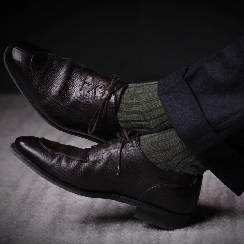 Olive Merino Wool Dress Socks with Charcoal Trousers and Dark Brown Shoes