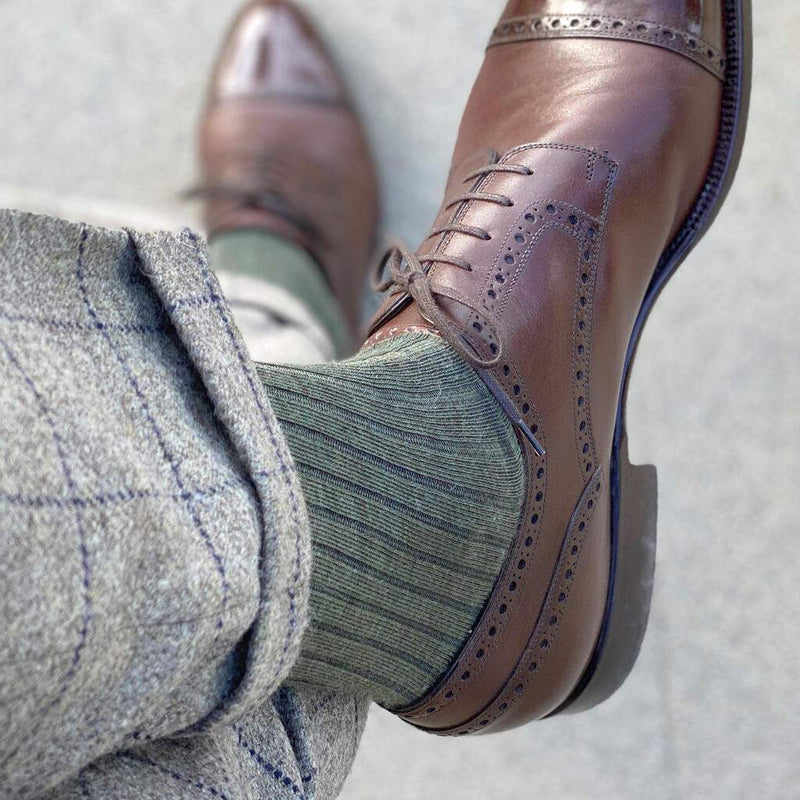Olive Merino Wool Mid Calf Dress Socks with Grey Dress Pants and Dark Brown Brogue Dress Shoes