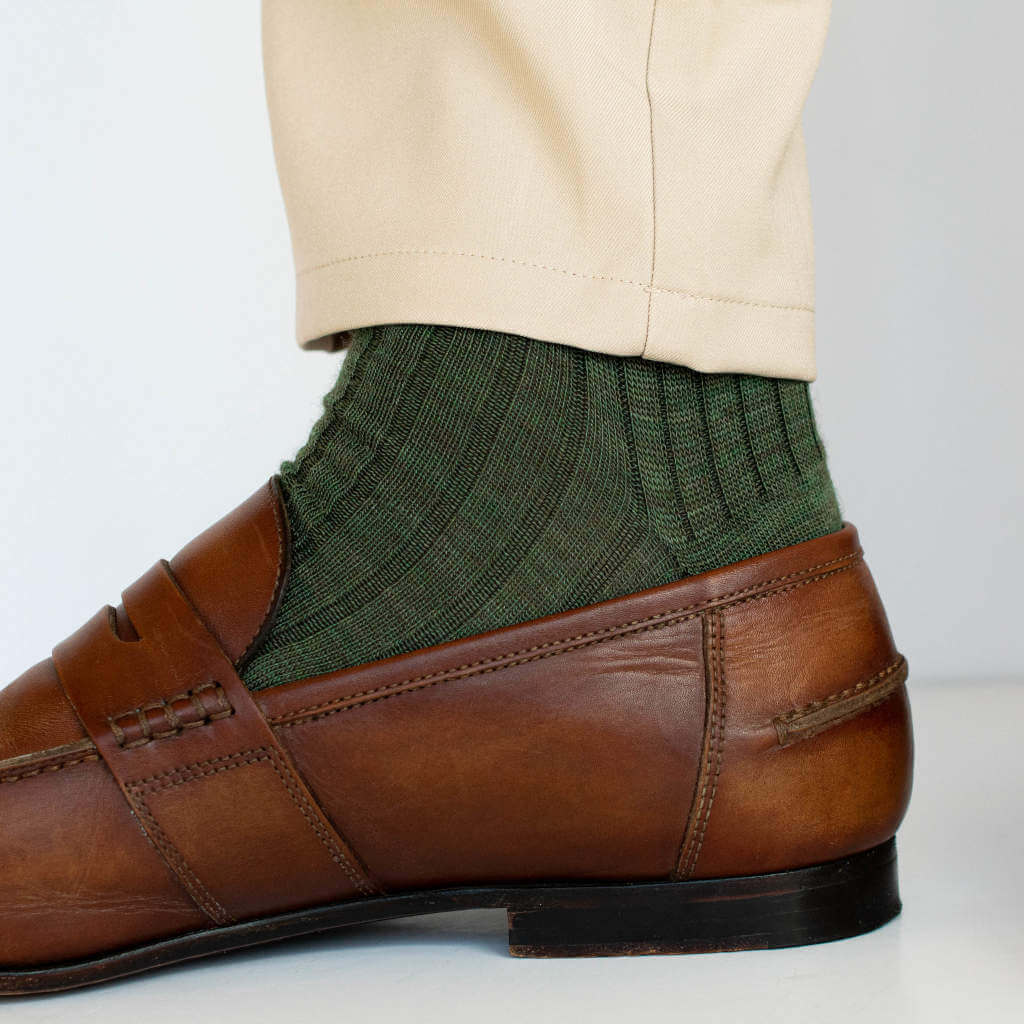 Olive Merino Wool Dress Socks with Tan Chinos and Brown Loafers