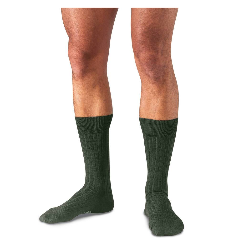 Olive Merino Wool Mid Calf Dress Socks on Model