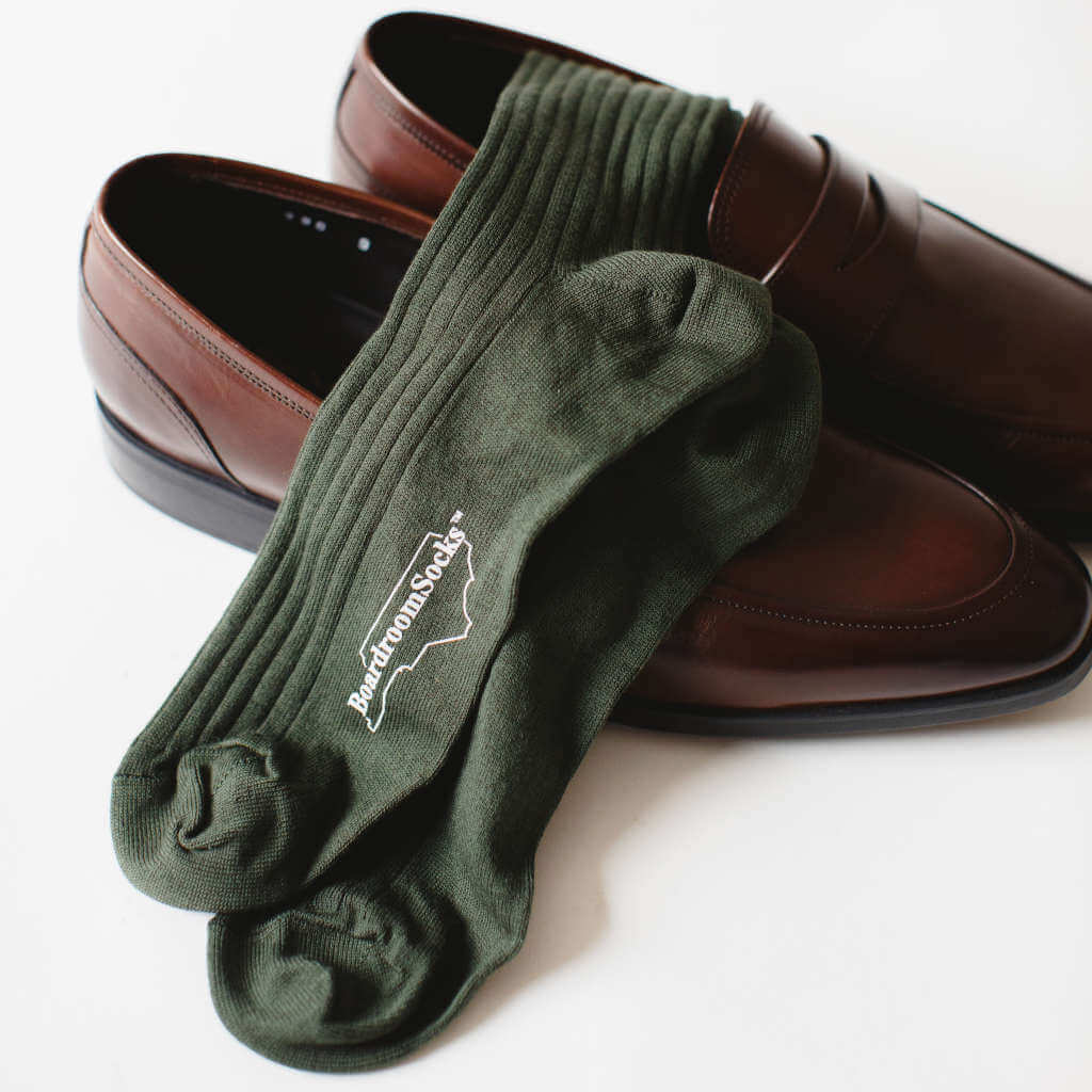 Olive Pima Cotton Dress Socks in Brown Loafers