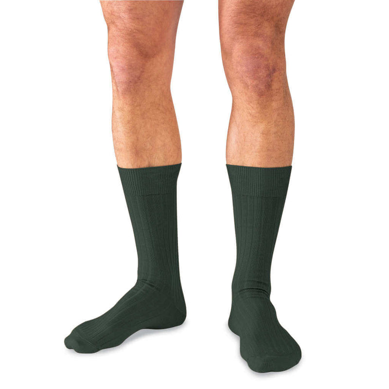 Model Wearing Mid-Calf Length Olive Pima Cotton Dress Socks