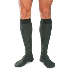 Six Pairs of Olive Green Cotton Over the Calf Dress Socks