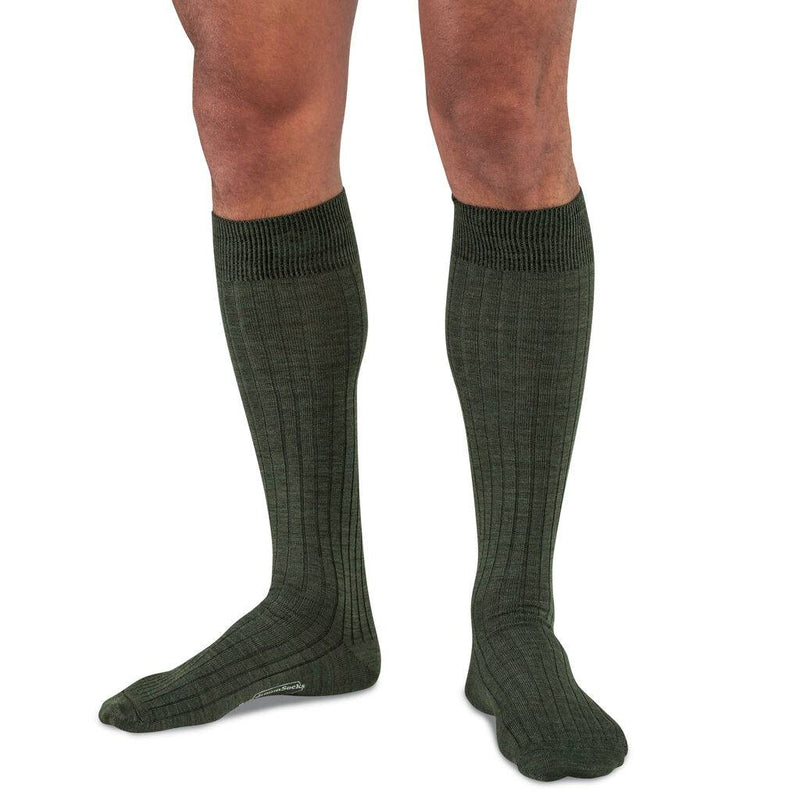 Olive Merino Wool Over the Calf Dress Socks on Model