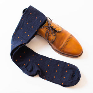 Orange Dots on Navy Over the Calf Dress Socks with Walnut Oxfords