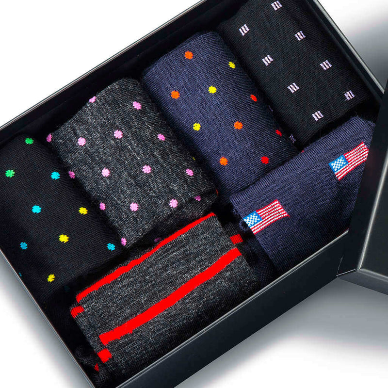 Colorful Patterned Dress Socks in Sleek Gift Box