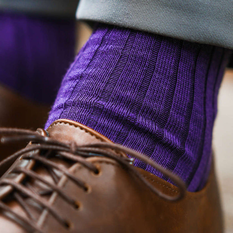 Purple Merino Wool Dress Socks with Grey Pants and Brown Dress Shoes