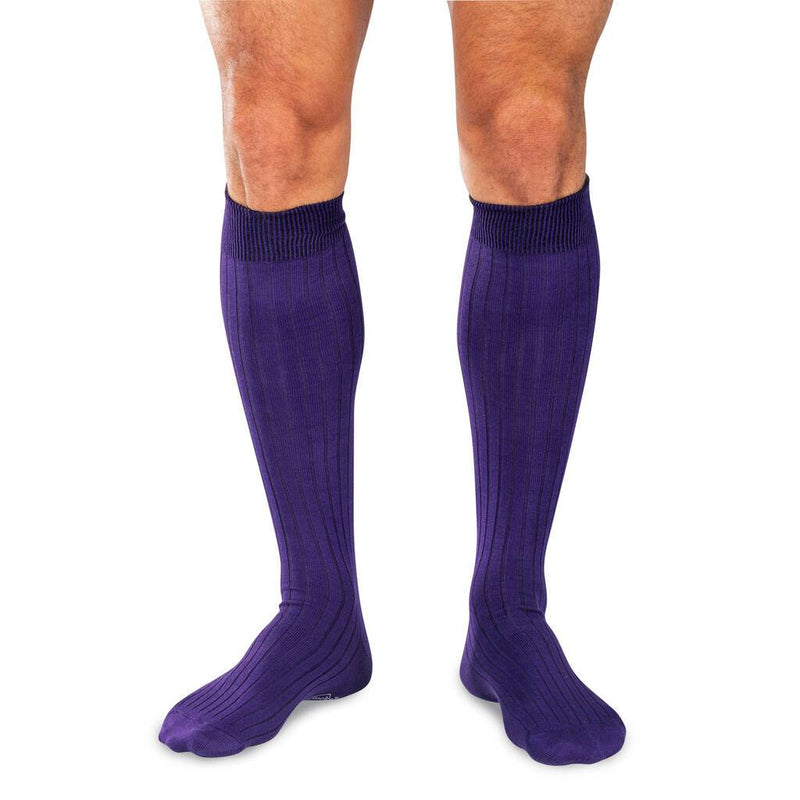Model Wearing Purple Over the Calf Dress Socks
