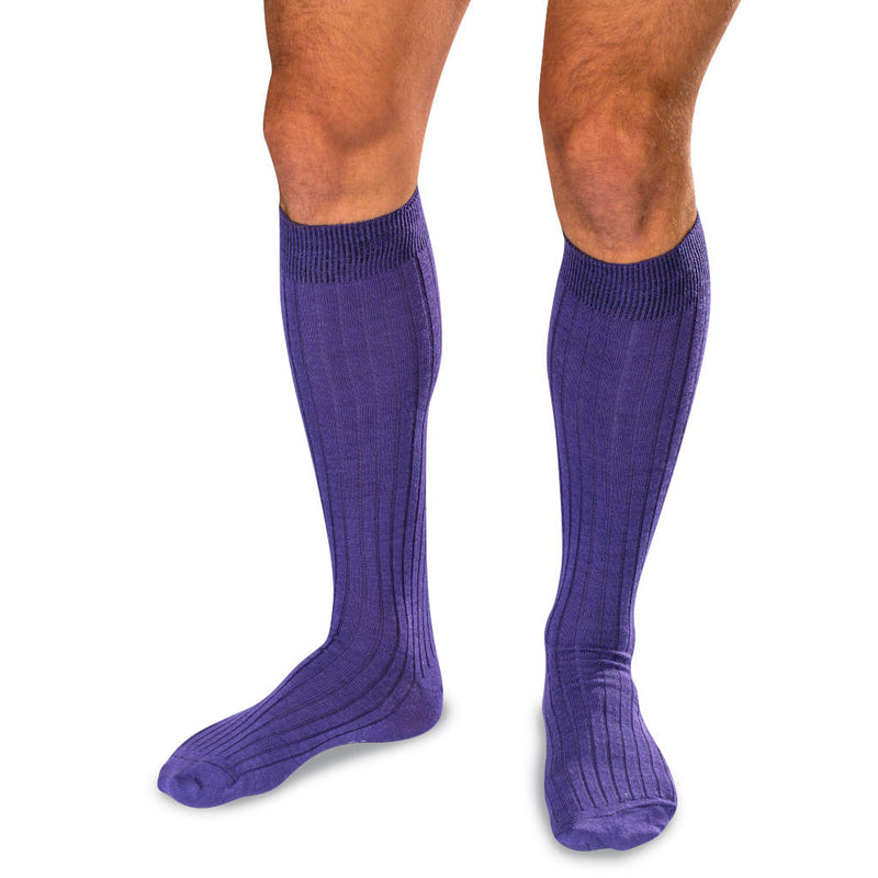 Man Wearing Purple Merino Wool Over the Calf Dress Socks