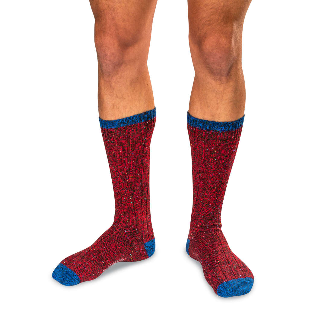 Model Wearing Red Wool Blend Donegal Tweed Socks