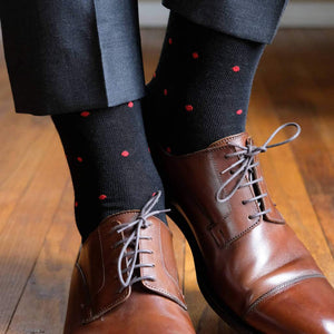 Black Dress Socks with Red Dots and Charcoal Trousers