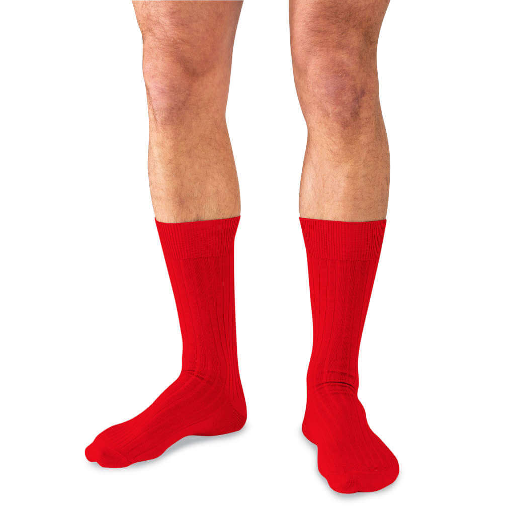 Man Wearing Mid-Calf Length Red Merino Wool Dress Socks