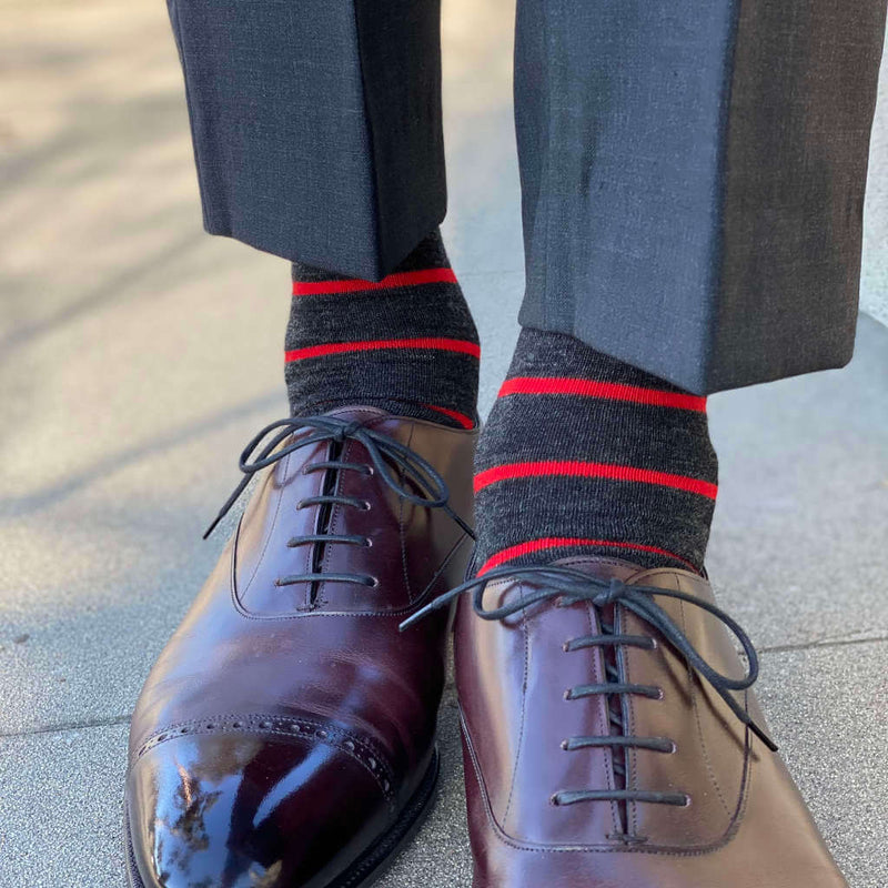 Red Stripes on Charcoal Merino Wool Dress Socks with Grey Dress Pants and Brown Dress Shoes