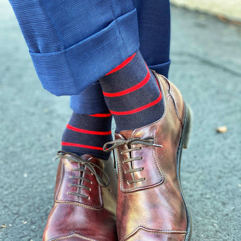 Red Stripes on Navy Merino Wool Dress Socks with Blue Pants and Brown Dress Shoes