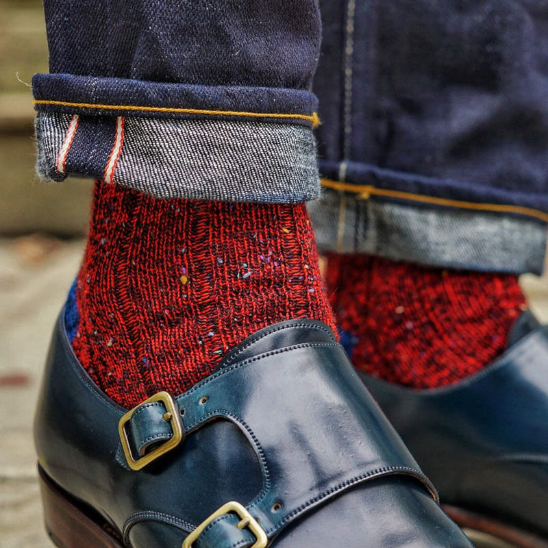 Red Donegal Tweed Wool Socks with Jeans and Blue Monkstrap Shoes