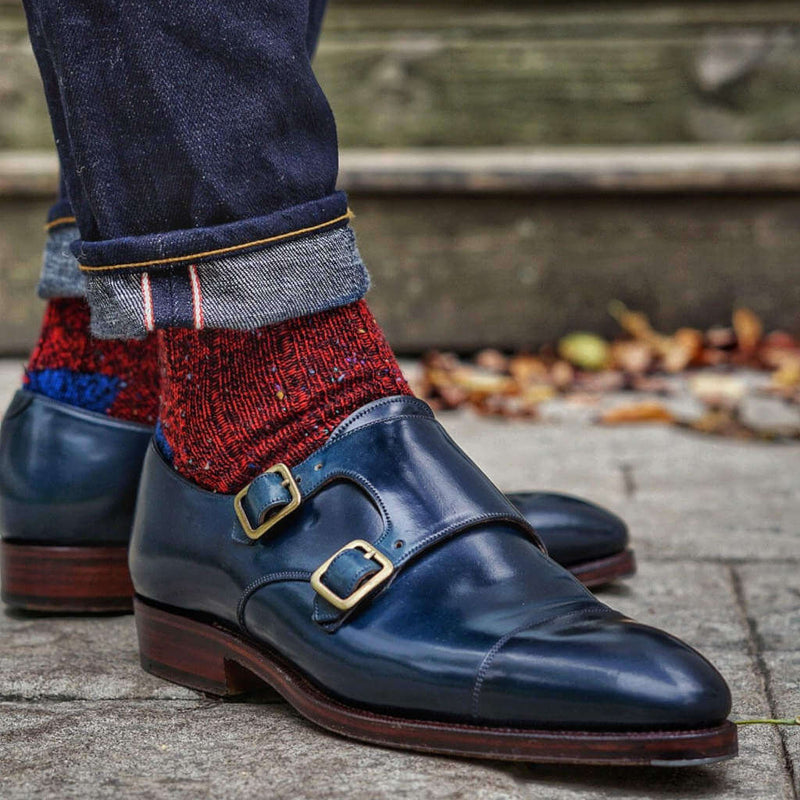 Red Donegal Tweed Wool Blend Socks with Denim and Blue Monkstrap Shoes