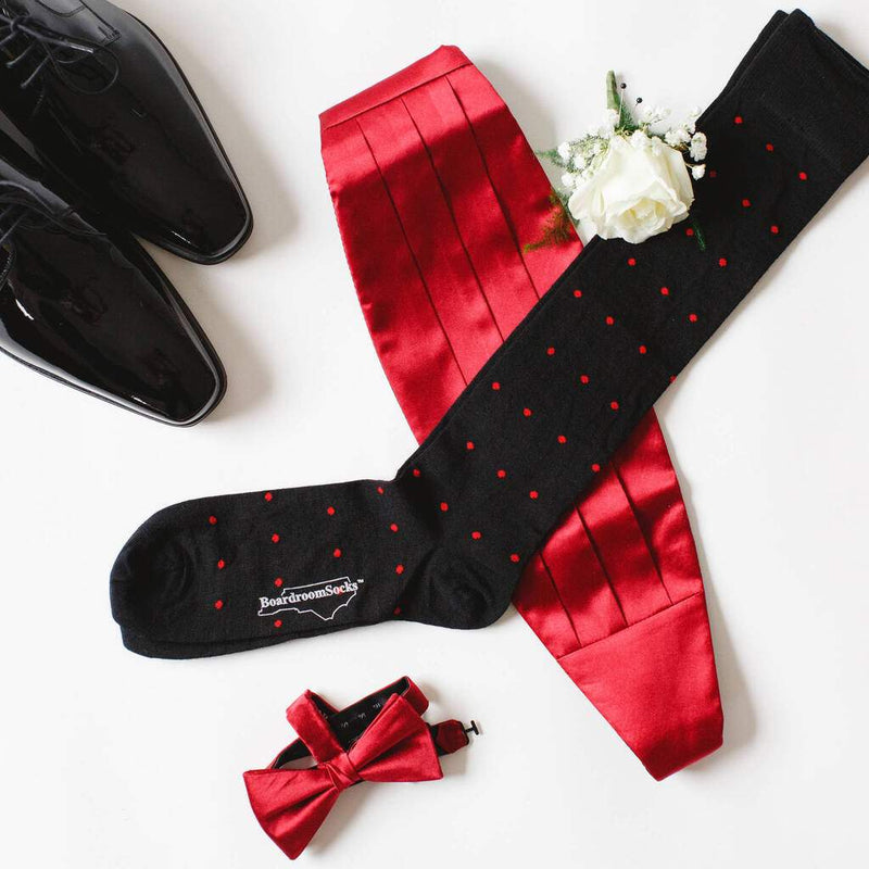 Black Over the Calf Dress Socks with Red Dots On Top of a Red Cummerbund and Other Formal Wear
