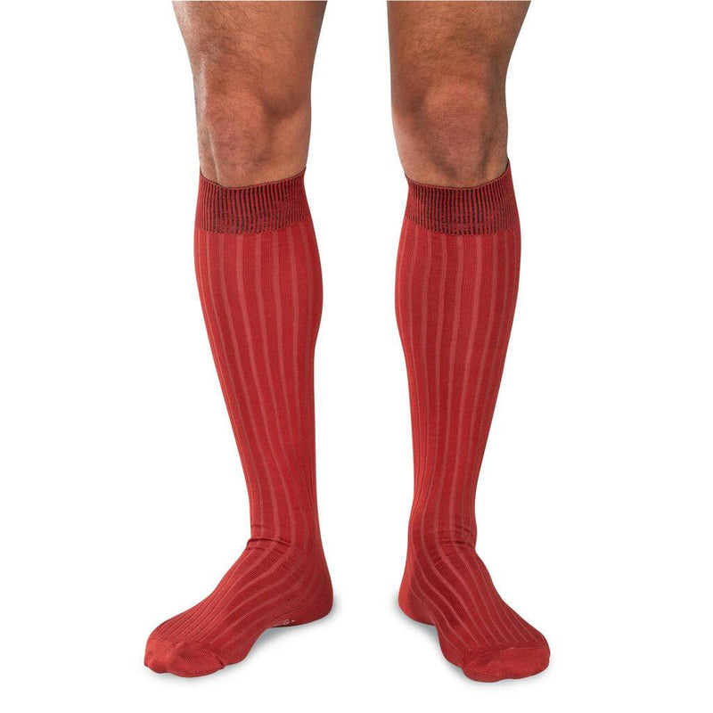 Male Model Wearing Rust Orange Over the Calf Cotton Dress Socks