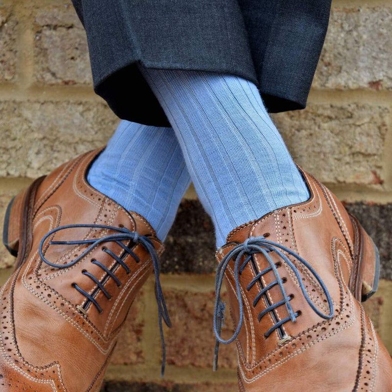 Sky Blue Merino Wool Dress Socks with Charcoal Trousers and Brown Brogues