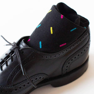 Black Dress Socks with Sprinkles in Black Brogues