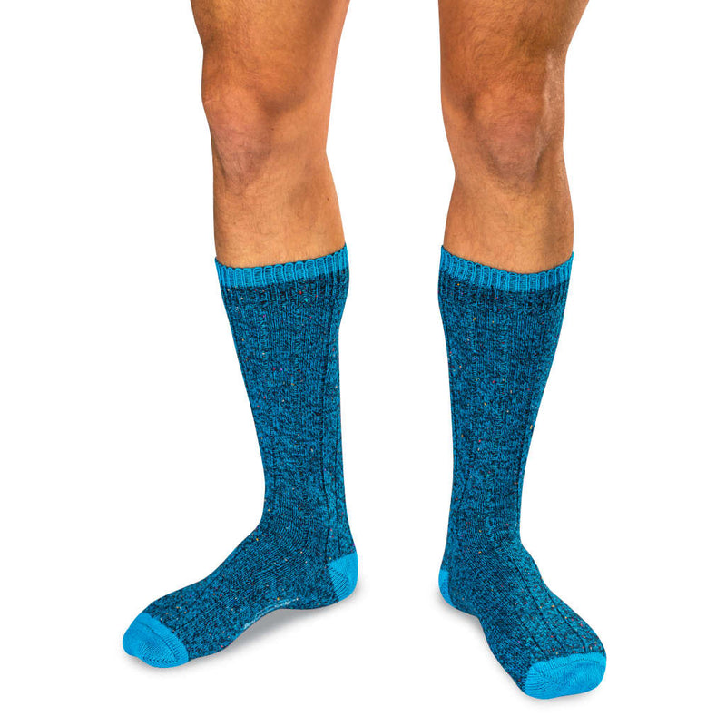 Model Wearing Teal Merino Wool Blend Donegal Socks