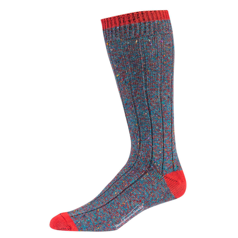 Teal and Red Twist Donegal Wool Socks