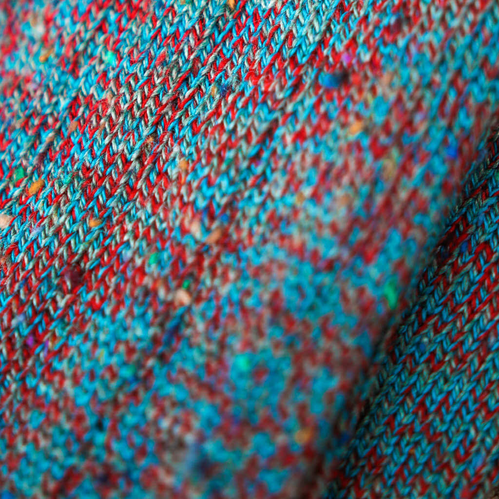 Close-Up of Teal and Red Twist Donegal Tweed Socks
