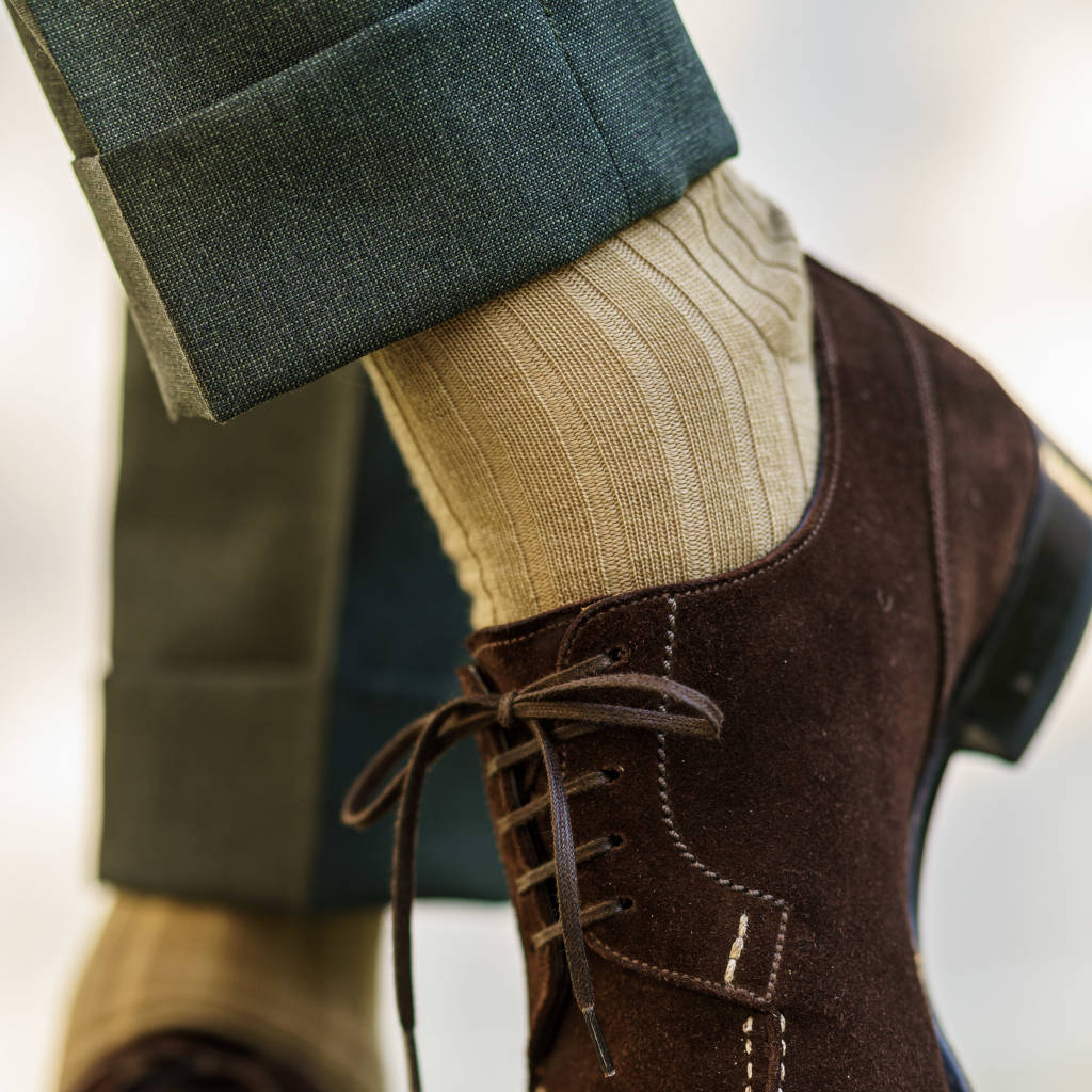 khaki wool dress socks with brown suede shoes