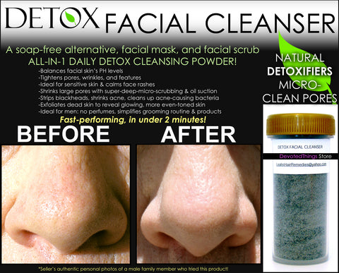 detox facial cleanser advertisement image with a before and after picture of blackheads on a nose going away