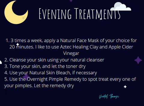 dark blue and yellow image explaining the evening treatments for skin care and listing steps by number
