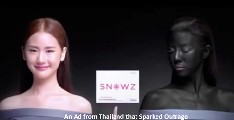 an ad from thailand that has a girl with very pale skin wearing a smile and a woman with black paint on her face and body with a frown