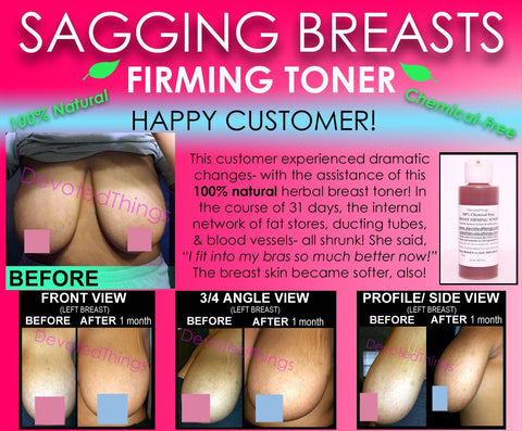 Breast Lift Toner - Chemical Free All Natural Breast Firming Toner Herbal Toning Lift For Sagging Breasts That Works