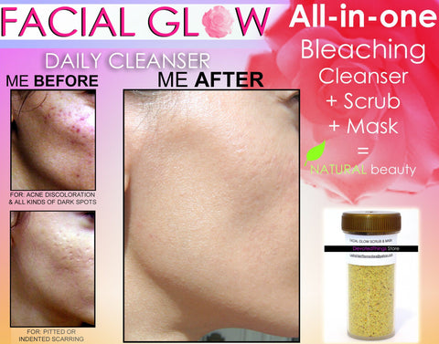 Cleanser, Scrub, Mask - Facial Glow Daily Cleanser Acne Scars Skin Bleaching Soap, Scrub, Mask Natural Herbal Bleach