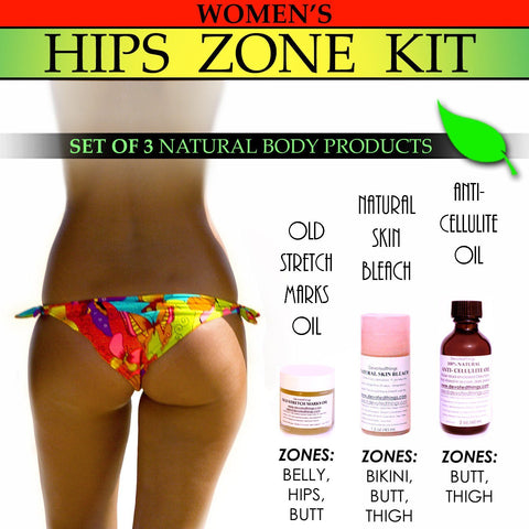 Hips Zone Kit - Womens Natural Hips Zone Kit For Stretch Marks Lightening Private Areas Cellulite Set Of 3