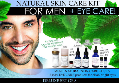 Natural Skin Care Kit for Men Deluxe Plus Eye Care Set of 8 - DevotedThings