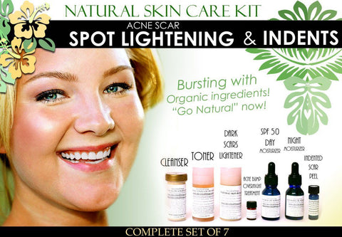 Skin Care Kit For Acne Scar Spot Lightening And Indented Scars - Natural Skin Care Kit For Acne Scar Spot Lightening And Pitted Scars Complete Set Of 7